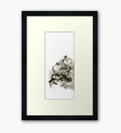 Mountain dragon sumi-e ink painting dragon art Framed Print