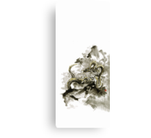 Mountain dragon sumi-e ink painting dragon art Canvas Print
