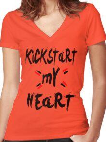 KICKSTART MY HEART Women's Fitted V-Neck T-Shirt