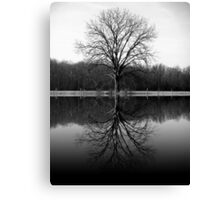 Tree Reflected black and white photography Canvas Print