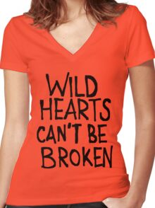 WILD HEARTS CAN'T BE BROKEN Women's Fitted V-Neck T-Shirt