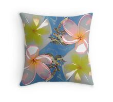 Soft pastel coloured Frangapanni flowers. Throw Pillow