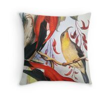 Vintage Native Hawaiian Birds Throw Pillow