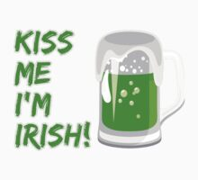 Kiss Me I'm Irish, Beer Stein, Clovers - Green Kids Tee