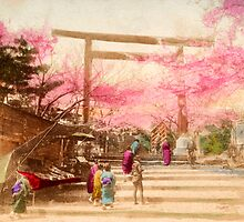 Vintage Japanese Cherry Blossoms by printscapes