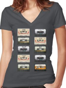 Vintage tapes Women's Fitted V-Neck T-Shirt