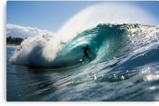 Silhouetted Surfer in Giant Wave by printscapes