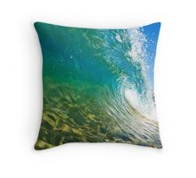 Makena Wave Breaking Along Shore Throw Pillow