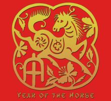 Chinese Year of The Horse Papercut Design Kids Clothes