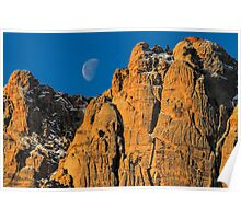 Red Rock Canyon Moon Set Poster