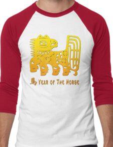 Chinese New Year of The Horse Papercut Men's Baseball ¾ T-Shirt