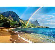 Rainbow at Tunnels Beach Hawaii Photographic Print