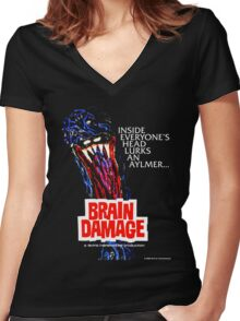 BRAIN DAMAGE Aylmer Poster Design Women's Fitted V-Neck T-Shirt