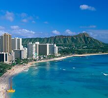 Diamond Head and Waikiki Beach by printscapes