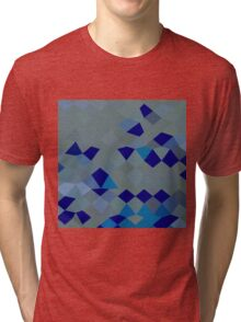 Blue Pigment Abstract Low Polygon Background Tri-blend T-Shirt