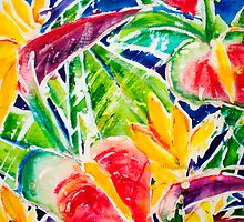 Hawaiian Botanical Arrangement Watercolor by printscapes