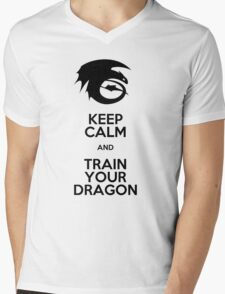 Keep calm and train your dragon Mens V-Neck T-Shirt