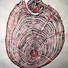"Wood Fossil IV - Subtle Red by Belinda ""BillyLee"" NYE (Printmaker)"
