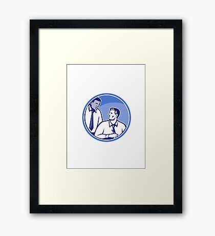 Office Worker Businessman Writing Woodcut Framed Print
