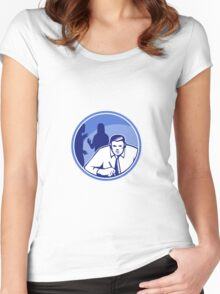 Office Worker Businessman Writing Woodcut Women's Fitted Scoop T-Shirt