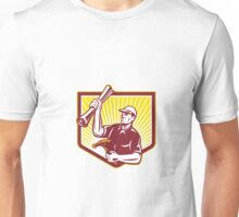 Builder Carpenter Hold Hammer Building Plan Retro Unisex T-Shirt