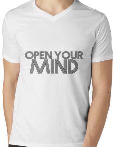 Open Your Mind (Black) Mens V-Neck T-Shirt