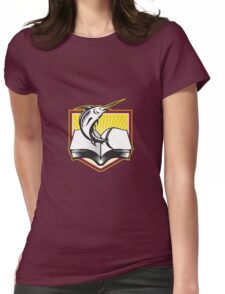 Blue Marlin Fish Jumping Book Retro Womens Fitted T-Shirt
