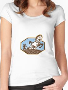 Farmer and Horse Plowing Farm Retro Women's Fitted Scoop T-Shirt