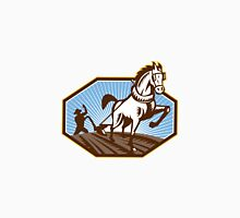 Farmer and Horse Plowing Farm Retro Unisex T-Shirt