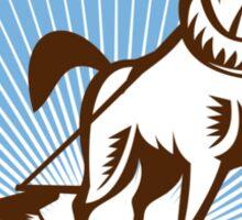Farmer and Horse Plowing Farm Retro Sticker