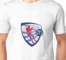 Volleyball Player Spiking Ball Crest Unisex T-Shirt