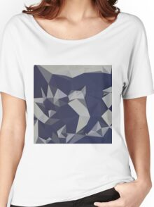 Cool Black Blue Abstract Low Polygon Background Women's Relaxed Fit T-Shirt