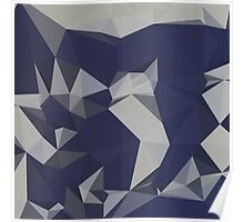Cool Black Blue Abstract Low Polygon Background Poster