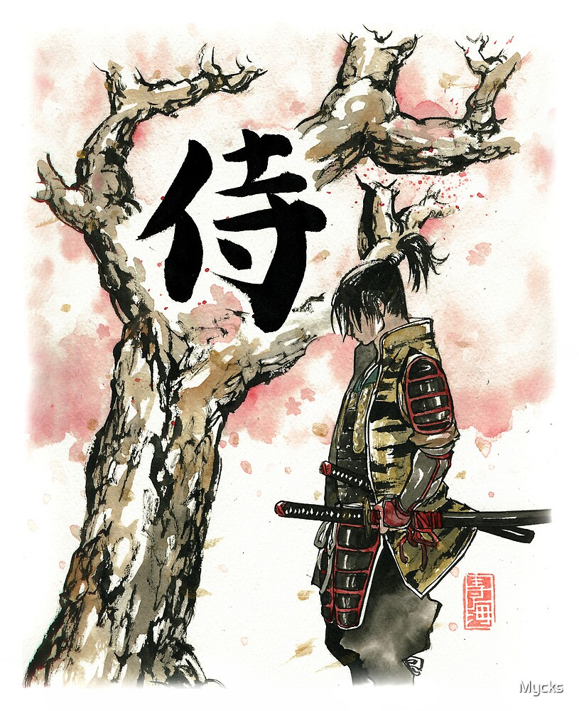 Samurai under Sakura Sumie Style by Mycks