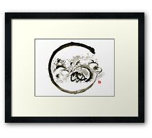 Aikido enso circle martial arts sumi-e original ink painting artwork Framed Print