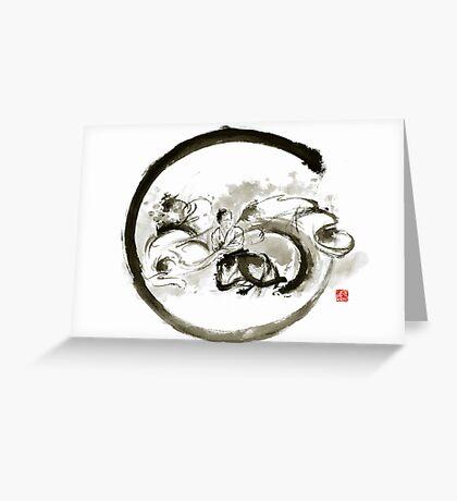 Aikido enso circle martial arts sumi-e original ink painting artwork Greeting Card