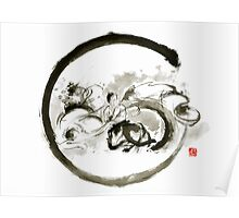 Aikido enso circle martial arts sumi-e original ink painting artwork Poster