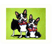 Bostons in Bowties Art Print