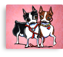 Bostons Leash Buddies Canvas Print