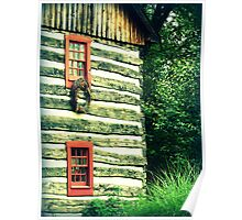 Log Home Wreath historic building red windows Poster