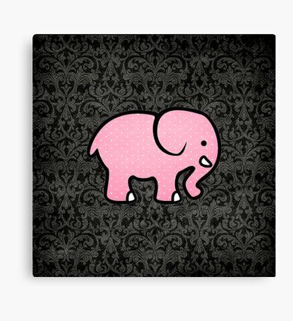 Pink Elephant on Damask Canvas Print