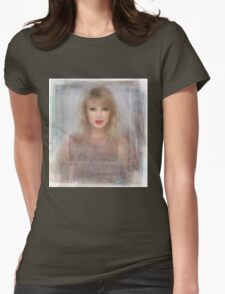 Taylor Swift Portrait Overlay Womens Fitted T-Shirt
