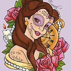 Belle Disney Day Of The Dead Style Lilac Background by EmRachArt92