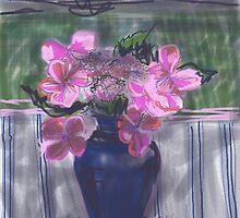 LaceCap Hydrangea in Blue Vase by Visuddhi
