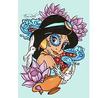 Jasmine Disney Day Of The Dead Style Blue Background Photographic Print