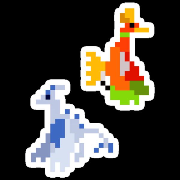 Pixel Johto Legendary Birds - Set of 2 by pixelatedcowboy