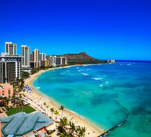 Diamond Head and Waikiki Beach Scene by printscapes