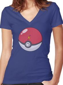 Pikachu's Pokeball Women's Fitted V-Neck T-Shirt
