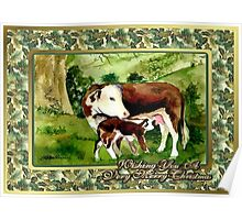 Hereford Cow And Calf Blank Christmas Card Poster