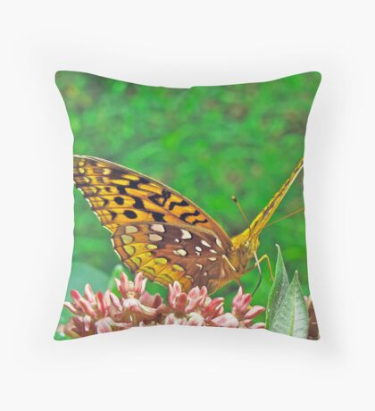 Great Spangled Fritillary Butterfly - Speyeria cybele Throw Pillow